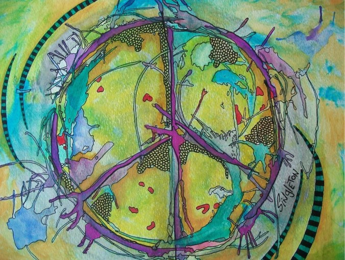 peace is a tadpole pond singleton hippie art 004